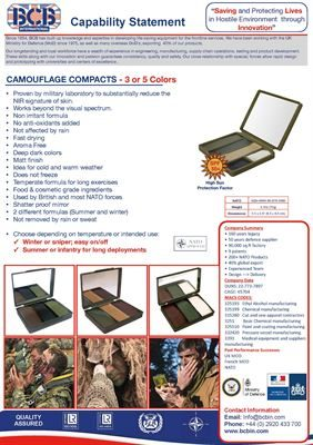 Camouflage Compacts Data Sheet